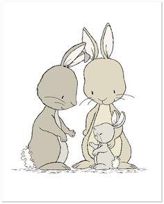 Bunny Nursery Art Bunnies Family of Three by SweetMelodyDesigns