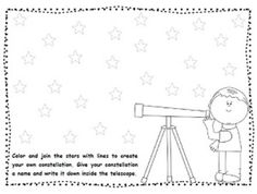 This is an activity to use when teaching constellations. Students will color the stars and connect them with lines to create their own constellation. This activity is in English and Spanish.Esta actividad puede ser usada cuando enseen sobre las costelaciones.