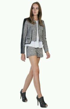 NWT Stella and Jamie Castilla in Dove Metallic Tweed Leather Trim Jacket L $328 #StellaandJamie #BasicJacket