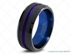 Mens Wedding Band,Black Blue Tungsten Ring,Black Wedding Bands,Colored Rings,6mm,8mm,Size,Womens,Matching,Hers,Set,Anniversary,Brushed,Bevel