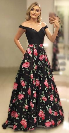 Off Shoulder Sleeves Black Floral Prom Dress Floral Prom Dresses, Gala Dresses, Event Dresses, Dresses For Teens, Pretty Dresses, Strapless Dress Formal, Formal Dresses, Black Leather Mini Skirt, Beautiful Gowns