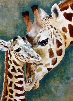 Terry Meyer won first place with her animal portrait in a on line art contest Mother and baby giraffe painting. Giraffe Drawing, Giraffe Painting, Giraffe Art, Giraffe Pictures, Animal Pictures, Animal Sketches, Animal Drawings, Watercolor Animals, Watercolor Paintings