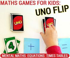 Math games for kids: Uno Flip for mental maths times tables and equations. A nice, simple fun way to practice solving math equations.