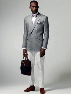 Summer style - White pants and Double Breast blazer by Duchamp. The brown tassel loafers make it very casual and sophisticated.