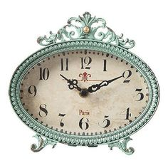 Lily Table Clock ($22) ❤ liked on Polyvore featuring home, home decor, clocks, european home decor, battery operated clocks, battery powered clock, mint green home decor and home decorators collection