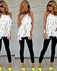 Love this! Skinny ankle jeans, and bright pop of color with heels, I'd just pair this with a different shirt