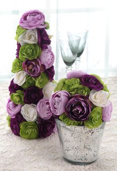 Wedding Reception Tables & Venue, purple and green