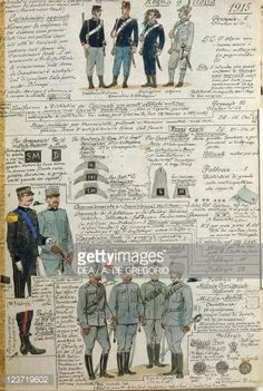 Foto stock : Uniforms of Italian army during World War I, by Quinto Cenni, color plate, 1915