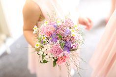 pretty pink bridesmaid bouquet Colourful Quirky Summer Garden Wedding http://www.mariafarrelly.com/