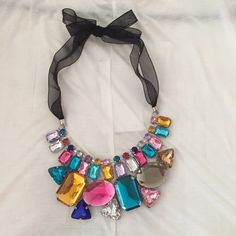 colorful statement necklace with black ribbon Statement Necklace with colorful stones and black ribbon Jewelry Necklaces