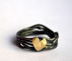 Anillo Corazón anidado en plata de ley Diseños de Rachel Pfeffer