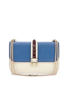 Rockstud Medium Colorblock Flap Shoulder Bag, Ivory Multi by Valentino at Neiman Marcus.