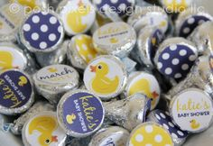 rubber ducky baby shower: navy + yellow customized circle stickers  {Posh Pixels}