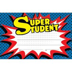 Teacher Created Resources Superhero Super Student Awards Printed on sturdy, heavy card stock paper, these awards will become keepsakes for the children who receive them. General titles allow for personalized messages that are sure to build self-esteem. Superhero Name Tags, Superhero Bulletin Boards, Superhero Classroom, Classroom Themes, School Classroom, Superhero School, Toddler Classroom, Classroom Behavior, Superhero Invitations