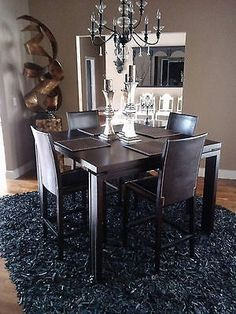 5pcs square counter height dining room table chairs pub set black leather