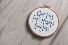 clear eyes, full hearts, can't lose // embroidered wall hanging