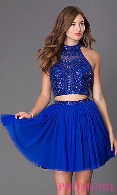 Short Two Piece Open Back Dress by Primavera at PromGirl.com