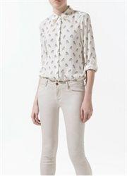 Metal rivet neck long-sleeved shirt