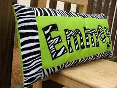 Lime Green and zebra print personalized name pillow by SweetSamantha on Etsy