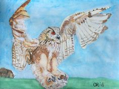 "My first water painting ""owl"""