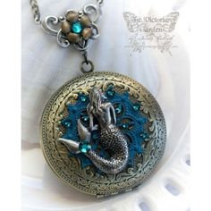 A MERMAID'S TALE fantasy mermaid locket, large antique brass locket... ❤ liked on Polyvore featuring jewelry, pendants, locket jewelry and antique brass jewelry