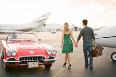 antique car, planes and leather bags with heels. Engagement session!