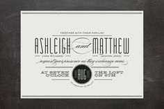 Love this whole thing! Lots of typefaces (verging on too many but it's fun), elegant border, black and white, all it needs is a touch of pink. #invitation #wedding #stationery