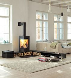 Hottest No Cost modern Wood Stove Popular Whilst solid wood is regarded as the eco-friendly heating system strategy, the item never ever looks like it's. Wood Burner Fireplace, Home Fireplace, Fireplace Design, Fireplace Ideas, Freestanding Fireplace, Home And Living, New York Loft, Family Room, Sweet Home
