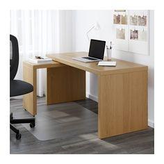 MALM Escritorio con tablero extraíble - chapa roble - IKEA