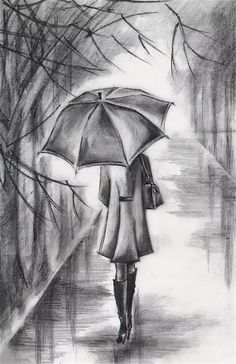 Where do I start drawing pencil drawing? How do I draw? Girl Drawing Sketches, Pencil Sketch Drawing, Pencil Art Drawings, Art Sketches, Pencil Drawing Inspiration, Drawing Ideas, Drawing Rain, Woman Drawing, Drawing Poses