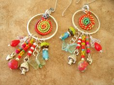 Boho Hippie Jewelry, Colorful Beaded Earrings, Artisan Jewelry, Seventies Hippie Revival Earrings, Butterfly, Mushrooms, Psychedelic