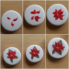 Piping poinsettias on a cookie. Fancy Cookies, Iced Cookies, Cute Cookies, Cupcake Cookies, Cookie Icing, Noel Christmas, Christmas Goodies, Christmas Desserts, Christmas Treats
