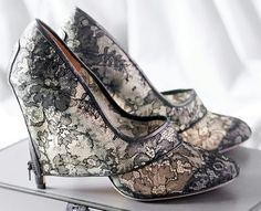 wedding shoe vintage unique chantilly lace pump high heel