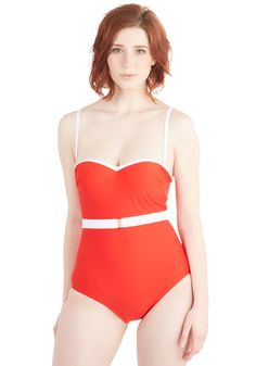 Sea and Be Seen One-Piece Swimsuit. Youre head over heels for this white and crimson one piece - a ModCloth exclusive! #red #modcloth