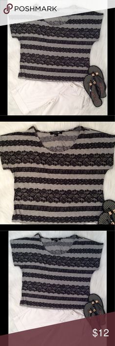 Forever 21 Lacy Look Tee Forever 21 Lacy look tee in grey with a black lace look design. Size Small. Forever 21 Tops Tees - Short Sleeve