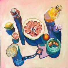 Grapefruit Still Life Print — Sari Not Sorry Art from Sari Shryack Colorful Paintings, Paintings I Love, Love Painting, Beautiful Paintings, Painting & Drawing, Illustrations, Illustration Art, Peach Paint, Acrylic Painting Inspiration