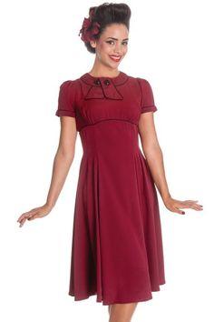 Mae West Burgundy Dress by Hell Bunny