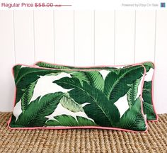 ON SALE Neon Green Palm Outdoor Lumbar Cushion by SquareFoxDesigns, $43.50