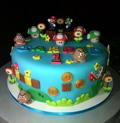 Super Mario Fondant Cake for Jarred. All decors are customized except for Mario & Luigi which was provided by the client since they want to use their mini figures… Though I really wanted to customized Mario and Luigi hehehe :D Had so much fun. Mario Birthday Cake, Super Mario Birthday, Super Mario Party, Bolo Super Mario, Mario Bros Cake, Sonic Cake, Pool Cake, New Cake, Edible Cake Toppers