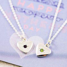 Birthstone Starburst Heart Charm Necklace from notonthehighstreet.com
