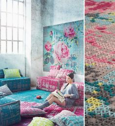 Вышитые ковры и пуфы | InterNotes
