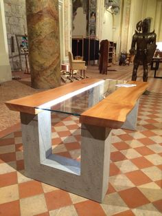 Meta_Nouveao Table bespoke Top wood and glass whit Led Lag Cement