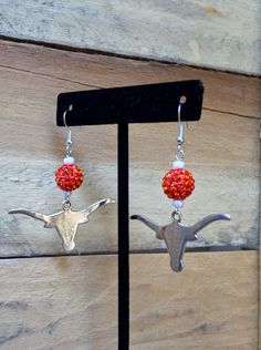 University of Texas Longhorns Earrings Jewelry UT Orange Silver Crystal Pave…