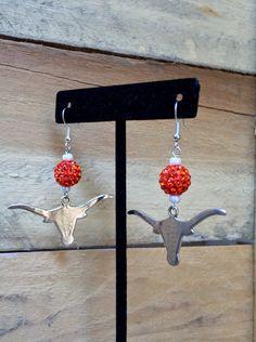 University of Texas Longhorns Earrings Jewelry UT Orange Silver Crystal Pave…