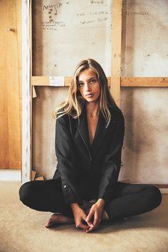 black blazer and skinny pants   Camille De Dampierre
