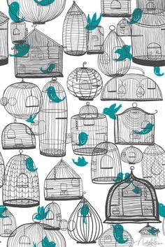 birds, birdcages, patterns