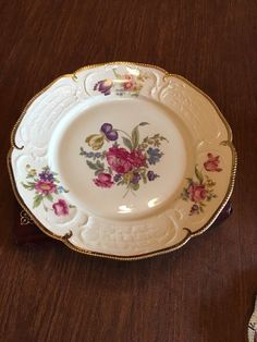 Diplomat Sanssouci Rosenthal Ivory Gold Floral Germany US Zone Dinner Plate #Rosenthal