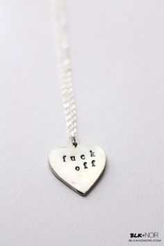 BLK AND NOIR JEWELRY - Fuck Off Heart Necklace, $20.00 (http://www.blkandnoir.com/fuck-off-heart-necklace/)