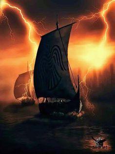 Viking ships in thunder and lightning ...