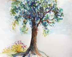 summer tree watercolor giclee print 11x14 by CheyAnneSexton